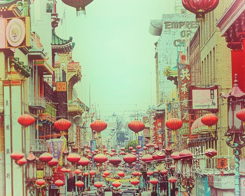San Francisco Art  Travel Photography  Chinatown Red Paper image 0