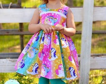 Rainbow My Little Pony inspired Twirl Strip Custom Dress Easter Dress Tea Party Dress Portrait Dress Bright Colors Children sizes & My little pony costume | Etsy