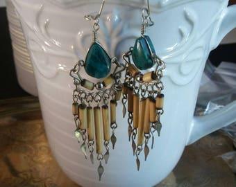 8942ee911cc BOHEMIAN Vintage 70s Green Turquoise Earrings Ethnic Tribal Gypsy Hippie  Retro Boho Chic