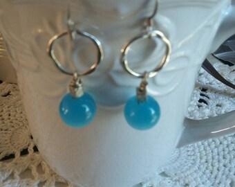 CLEARANCE SALE/Turquoise Aqua Blue Glass Earrings, Summer Earrings