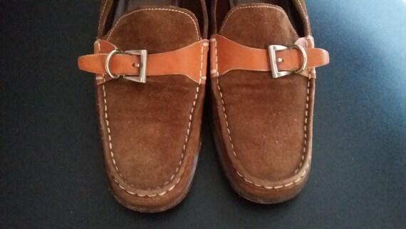 867435191a9 PRADA Vintage 90s Designer Womens Prada Orange Buckle Brown