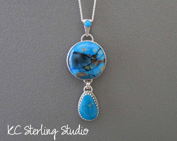 Lampwork glass stone and American turquoise pendant necklace with sterling silver