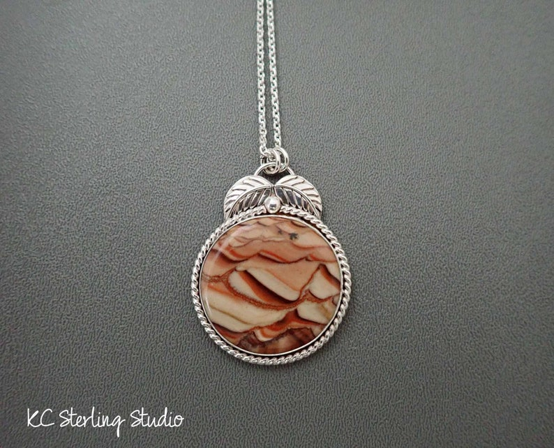 Natural rolling hills wave dolomite pendant necklace with image 0