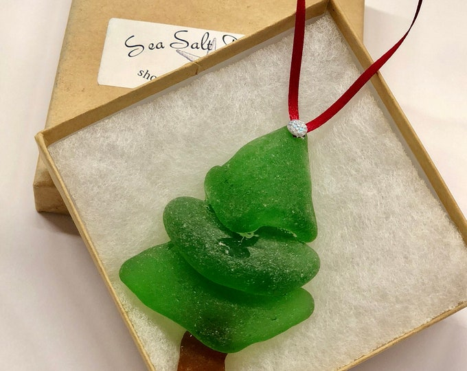 Large genuine sea glass Christmas Tree Ornament