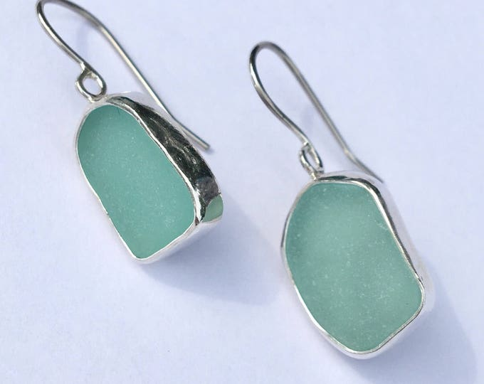 Aqua Genuine Sea Glass Earrings bezel set in sterling silver