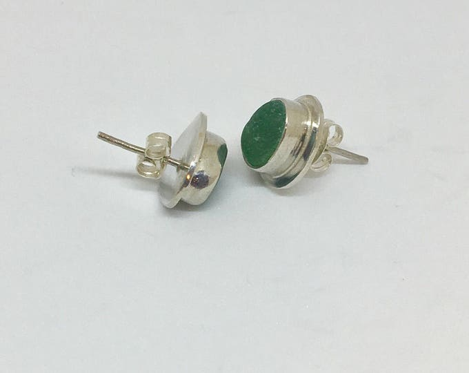 Emerald Green Genuine Sea Glass Stud Earrings, bezel set with sterling silver border