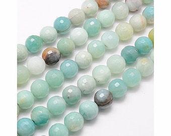 Faceted Amazonite Beads, 10mm Round - 15 inch strand - eGF-AZ001-10