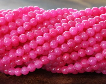 Mountain Jade Beads, Hot Pink, 4mm Round - 16 Inch Strand - eMJR-P21-4