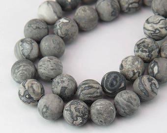 Matte Scenery Jasper Beads, Grey, 10mm Round - 15 inch Strand - eGR-JA657-10
