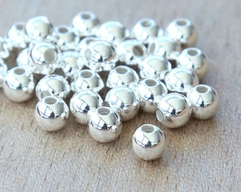 Silver Plated Round Seamed Beads, 5mm - 50 pcs - eSR03SP-5