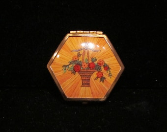 Vintage 1930s Compact Houbigant Hexagon Powder Compact Mirror Compact Excellent Condition