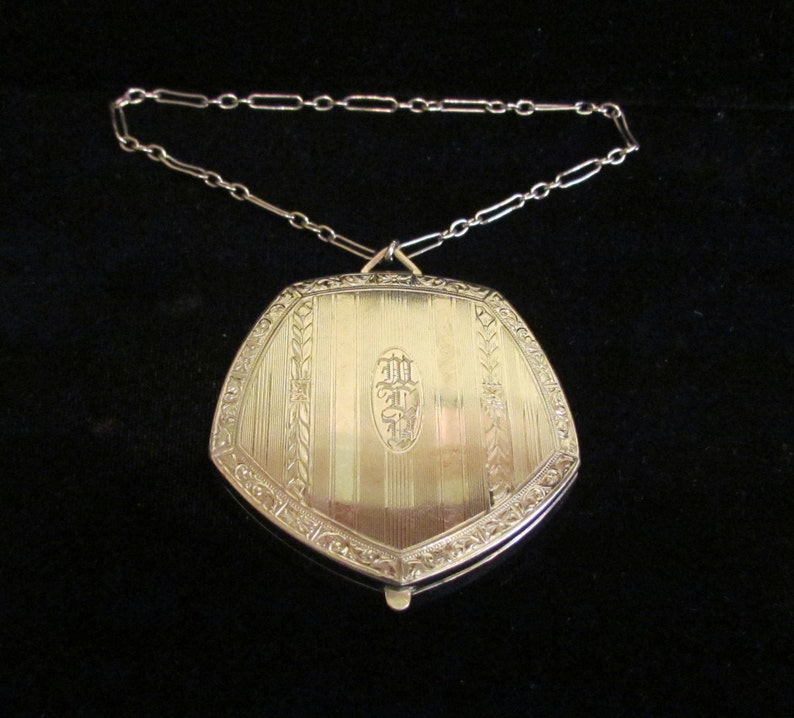 Vintage 1900s Compact Dance Compact Double Compact Powder Rouge and Mirror Compact Victorian Edwardian Silver Tone Very Good Condition
