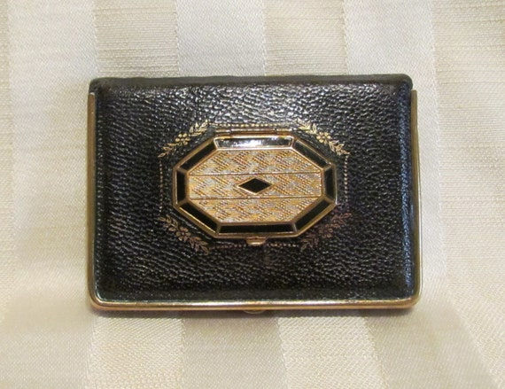 1920s Leather Compact Mondaine Book Compact Powder