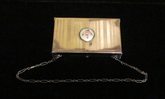 1900s Edwardian Guilloche Dance Compact or Compact