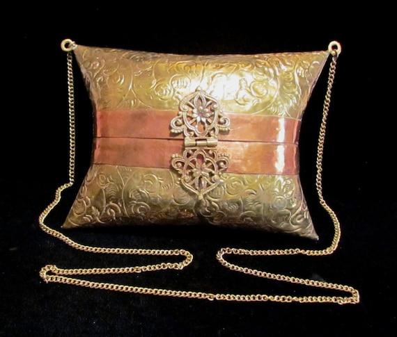 Vintage Purse Brass Purse Copper Purse 1930s Shoul