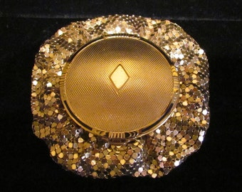 1930s Gold Mesh Compact Purse Evans Powder Compact Rouge Compact Mirror Compact  Art Deco Purse Unused Near Mint Condition