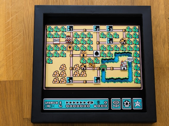 Mario 3 World Map.Super Mario 3 World Map Snes Shadowbox Etsy