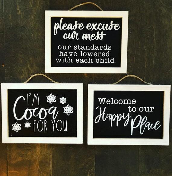 Chalkboard decorative signs.