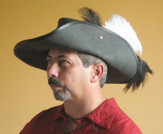 Black Medieval Hat Hood Larp Hat Mittelaltermütze Cap Cap Beret