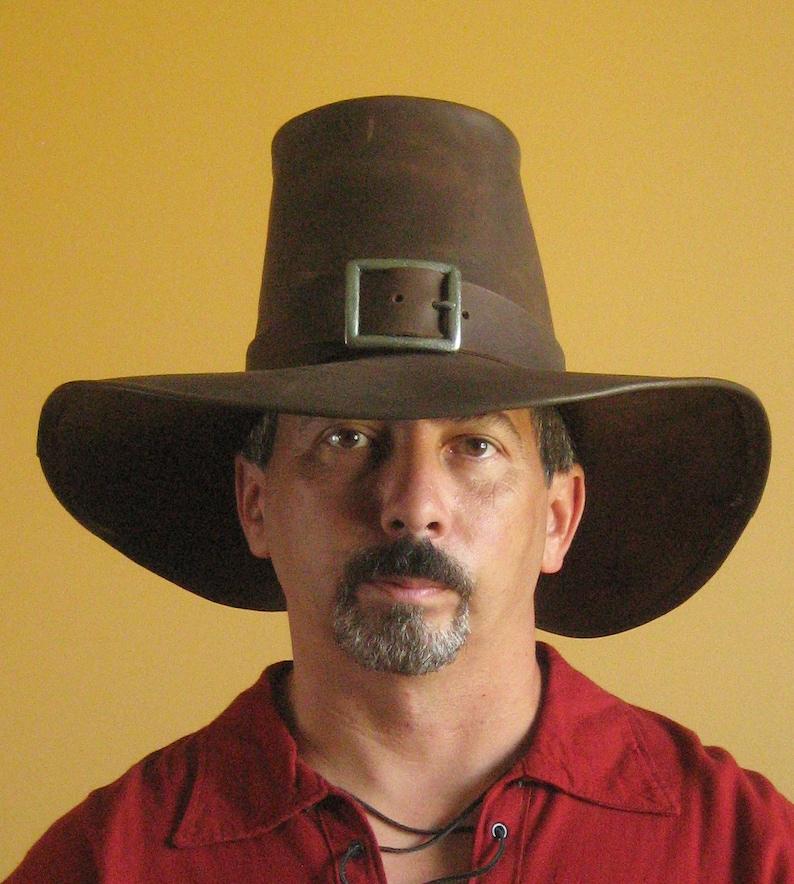 Medieval Celtic Renaissance SCA Larp Leather Puritan Solomon Kane Hat