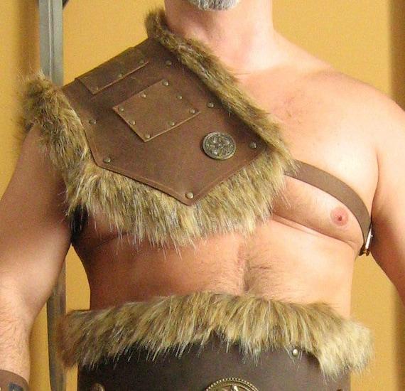 Vintage Schulterpanzer Leder Mittelalter Gladiator LARP Rüstung Kostüm Cosplay