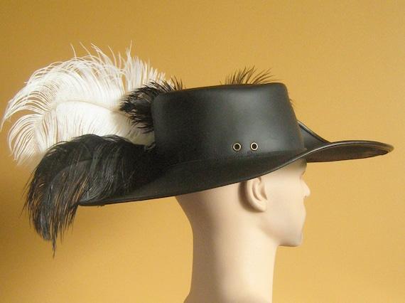 Medieval Celtic Renaissance LARP Pirate Hat Leather Musketeer Hat Fleur-de-Lys