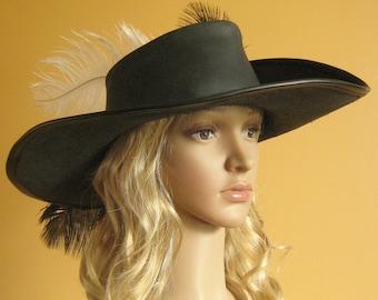 Medieval Celtic Renaissance Pirate Hat LARP  Leather Musketeer Hat Women