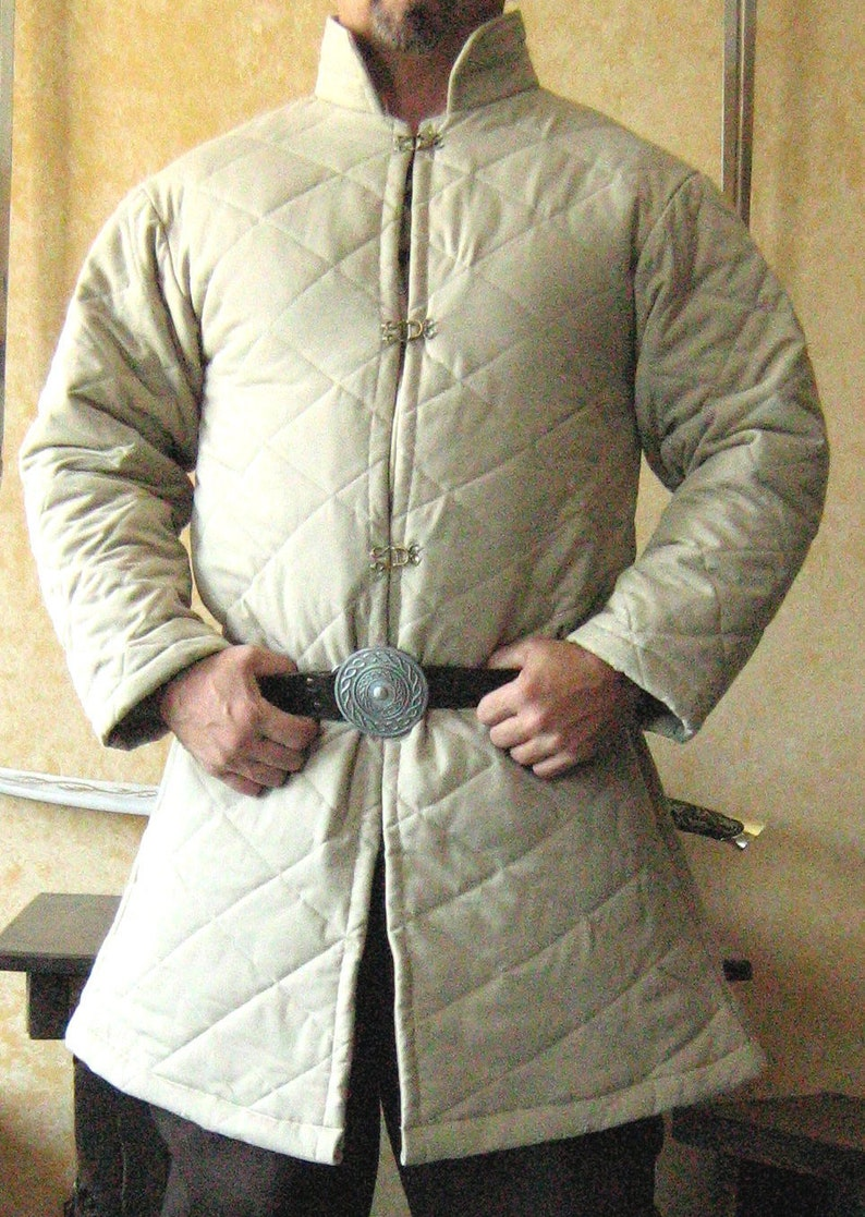 Medieval LARP Renaissance Armor Padded Gambeson Long Sleeves with Collar