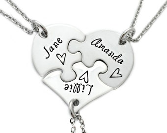 Best Friends Sisters Puzzle Piece Heart Necklace Set of 3 - Engraved Jewelry - Best Friends Necklace - Friends Puzzle Gift Set - Sis - 1184