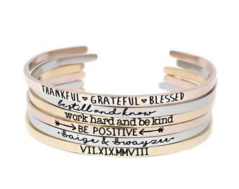Inspirational Quote Jewelry - Quote Bracelet - Stackable - Skinny Cuff Bracelet - Rose Gold Bracelet - Gold Bracelet - Personalized - 1183