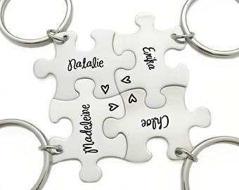 Bridesmaid Favor Gift - Puzzle Piece - Engraved Puzzle Piece Keychain - Wedding - Bridal Party - Wedding Puzzle - Bridesmaid Keychain - 1195