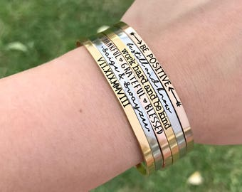 Personalized Cuff Bracelet - Inspirational Bangle Bracelets - Motivation - Skinny Cuffs - Hand Stamped Stacking Bangle - Be Kind - 1183