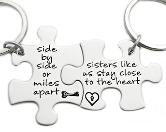 Side By Side Or Miles Apart Puzzle Piece Key Chain Set Of 2 Etsy