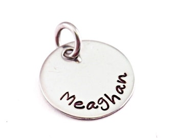 "ADD ON - 1/2"", 5/8"" or 3/4"" Engraved Stainless Steel Disc Charm - 1339"