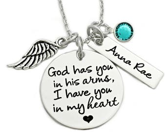 Memorial Necklace - God Has You In His Arms, I Have You In My Heart - Miscarriage Remembrance - Miscarriage Necklace - Infant Loss - 1125