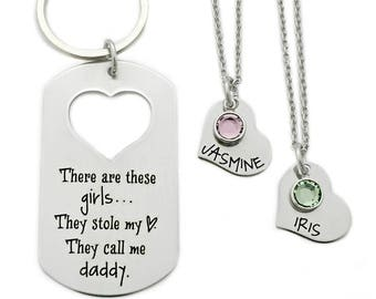 Personalized These Girls They Stole My Heart, They Call Me Daddy - Dad Key Chain - Dad Daughter Set - Father's Day - Daddy - Gift Dad - 1174