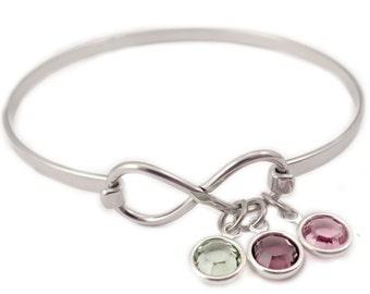 Personalized Infinity Birthstone Bangle Bracelet - Jewelry gift - Birthstone Bracelet -  Infinity Bracelet - Infinity Charm Bracelet - 1017