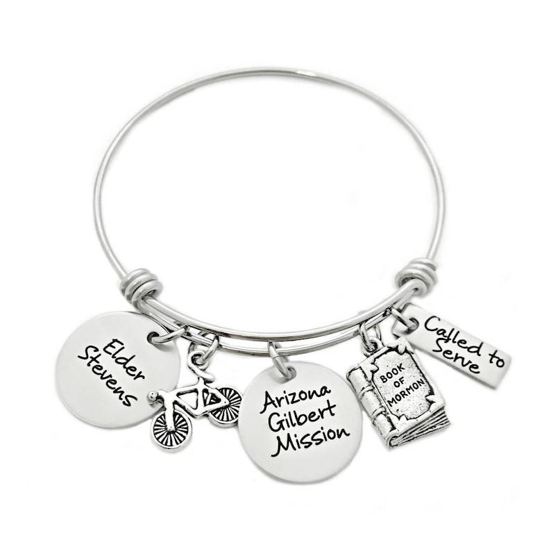 Personalized Missionary Mom Bangle Bracelet  Engraved Jewelry image 0