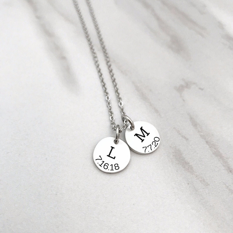 Simple Personalized Necklace N1249 Custom Mother/'s Day Gift Kids Initials Minimalist Jewelry Mom Necklace With Initial /& Birthdate