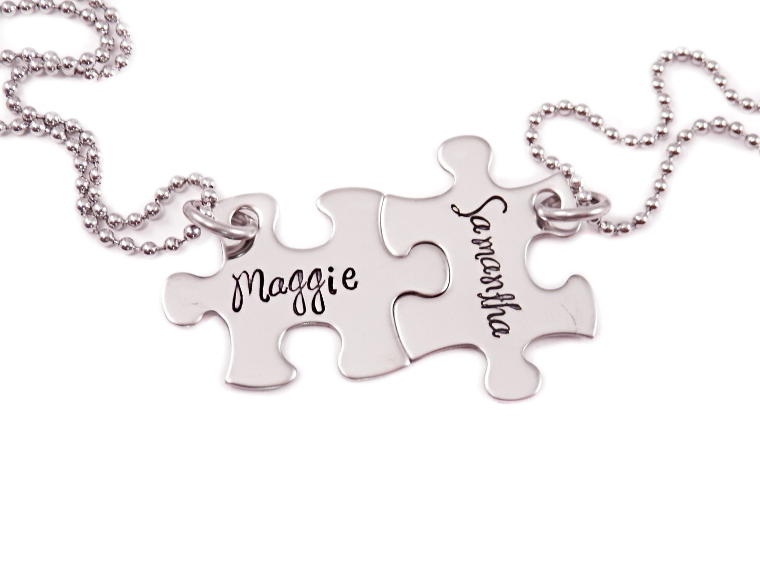 personalized mini puzzle piece necklace set 2 puzzle