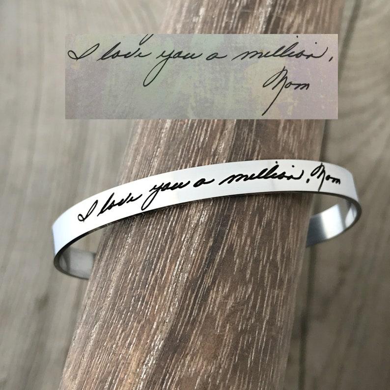 Handwriting Jewelry  Memorial Bracelet  Personalized Cuff image 0