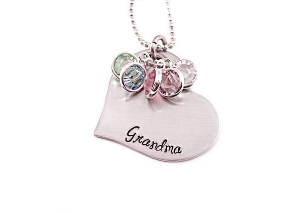 personalized grandma necklace engraved jewelry grandma etsy