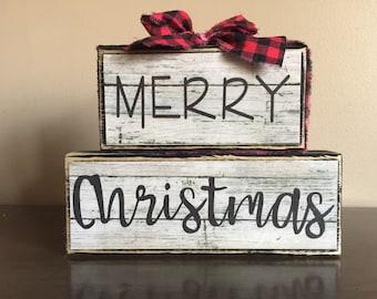 Wood Merry Christmas Blocks, Wood  Christmas Sign, christmas gift, christmas blocks, Christmas block sign, christmas mantel decor