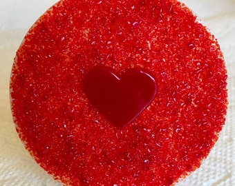 RED HEART VALENTINE Love Fused Glass Night Light H81