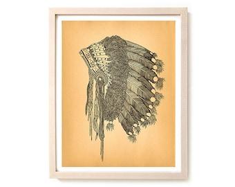 "Native American Art Print ""Headdress"""