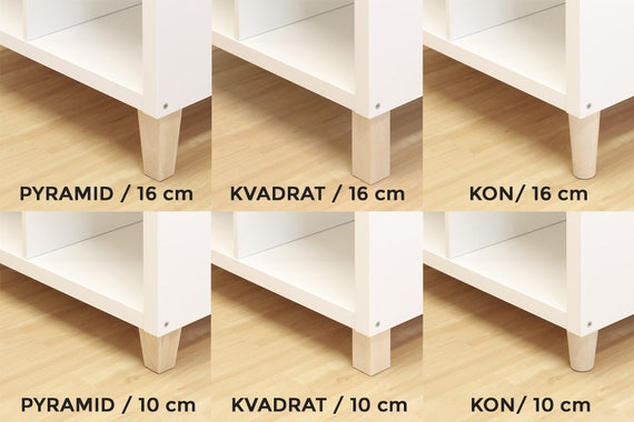 brand new 7fefe 374b6 6 x Ikea Kallax Shelf Feet Furniture Feet Furniture Legs Solid Beech Wood  (transparent lacquered) Water-repellent various shapes and sizes