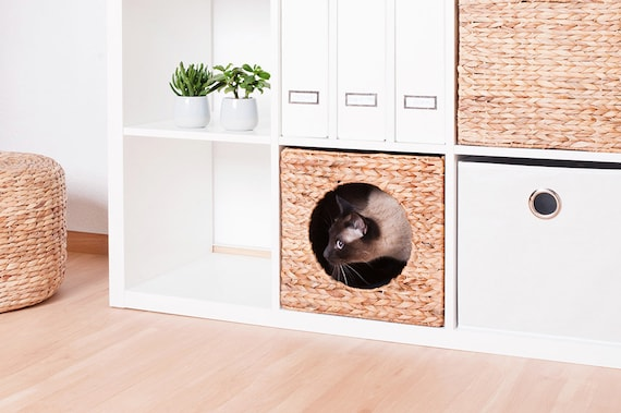 Ikea Kallax Expedit Cat Basket 34 X 33 X 33 Cm Natural Basket Of Water Hyacinth Cave Cats Cave Stable For Small Dogs And Cats