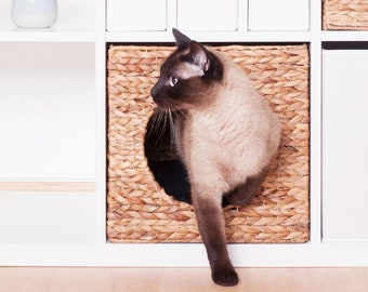 Ikea Kallax Expedit Cat Basket 34 x 33 x 33 cm Nature Basket from Water Hyacinth Animal Cave Cat Cave Stable for Small Dogs and Cats