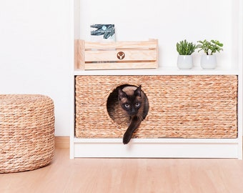 Ikea Billy Cat Basket 75 x 25 x 29 cm Nature Basket from Water Hyacinth Animal Cave Cat Cave Stable for Small Dogs and Cat
