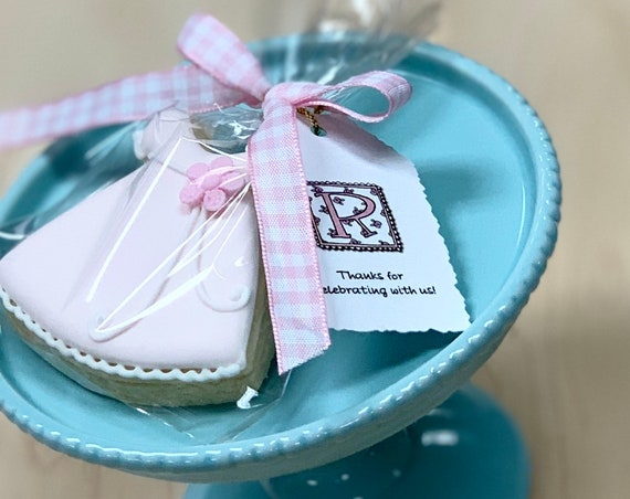 Girl's Pink Dress Mini Cookie Favors with Ribbon and Tag, 12 Pieces